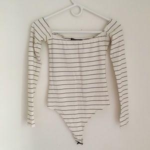 Brandy Melville White Strip Bodysuit